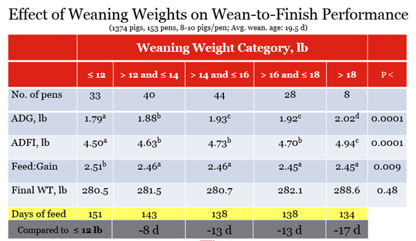 Table showing effect of weaning weights on wean to finish performance in pigs